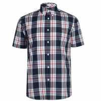 Pierre Cardin Мъжка Риза Къс Ръкав Check Print Short Sleeve Shirt Mens Navy/Red/White Мъжко облекло за едри хора