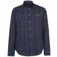 Pierre Cardin Мъжка Риза Ditzy Flower Shirt Mens Navy/Blue Мъжко облекло за едри хора