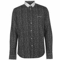 Pierre Cardin Мъжка Риза Ditzy Flower Shirt Mens Black/White Мъжко облекло за едри хора