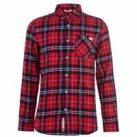 Lee Cooper Фланелена Риза Flannel Shirt Mens Burgundy Check Мъжки ризи