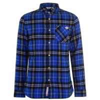Lee Cooper Фланелена Риза Flannel Shirt Mens Blue/Black Chk Мъжки ризи