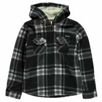 Lee Cooper Hooded Fleece Shirt Junior Black/White Детски ризи