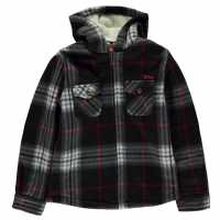 Lee Cooper Hooded Fleece Shirt Junior Black/Grey/Red Детски ризи
