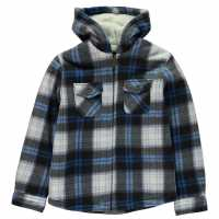 Lee Cooper Hooded Fleece Shirt Junior Navy/White Детски ризи