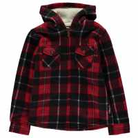 Lee Cooper Hooded Fleece Shirt Junior Red/Black Детски ризи