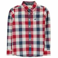 Soulcal Карирана Риза Дълъг Ръкав Long Sleeve Check Shirt Junior Boys Red/Navy/White Детски ризи