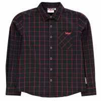 Lee Cooper Карирана Дамска Риза Long Sleeve Fashion Check Shirt Junior Boys Red/Black Детски ризи