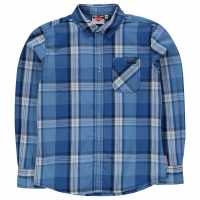 Lee Cooper Карирана Дамска Риза Long Sleeve Fashion Check Shirt Junior Boys Navy/Blue/White Детски ризи