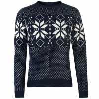 Pierre Cardin Плетен Мъжки Пуловер Crew Neck Fair Isle Knit Sweater Mens Navy Мъжки пуловери и жилетки