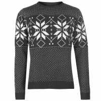 Pierre Cardin Плетен Мъжки Пуловер Crew Neck Fair Isle Knit Sweater Mens Charcoal Marl Мъжки пуловери и жилетки