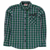 Lee Cooper Long Sleeve Fashion Zip Shirt Junior Boys Green/Navy/Whte Детски ризи
