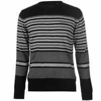 Pierre Cardin Плетен Мъжки Пуловер Stripe Knit Jumper Mens Black Мъжки пуловери и жилетки