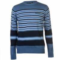 Pierre Cardin Плетен Мъжки Пуловер Stripe Knit Jumper Mens Blue Мъжки пуловери и жилетки