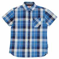 Lee Cooper Карирана Риза Short Sleeve Fashion Checked Shirt Junior Boys Royal/Nvy/White Детски ризи