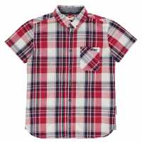 Lee Cooper Карирана Риза Short Sleeve Fashion Checked Shirt Junior Boys Red/Navy/White Детски ризи