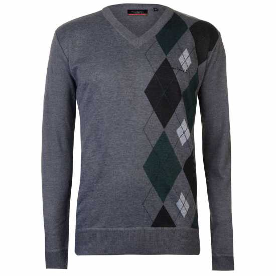 Pierre Cardin Плетен Мъжки Пуловер Argyle Knitted Jumper Mens Char M/DrkGreen Мъжки пуловери и жилетки