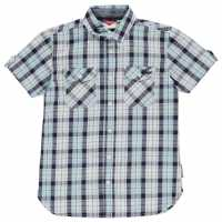 Lee Cooper Карирана Дамска Риза Short Sleeve Check Shirt Junior Boys Sky/Navy/White Детски ризи