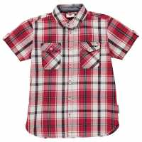 Lee Cooper Карирана Дамска Риза Short Sleeve Check Shirt Junior Boys Red/White/Black Детски ризи