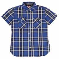 Lee Cooper Карирана Дамска Риза Short Sleeve Check Shirt Junior Boys Navy/Royal/Whte Детски ризи