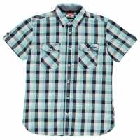Lee Cooper Карирана Дамска Риза Short Sleeve Check Shirt Junior Boys Turq/Navy/White Детски ризи