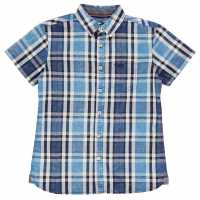 Soulcal Карирана Дамска Риза Short Sleeve Check Shirt Junior Boys Royal/Navy/Whte Детски ризи