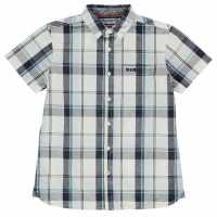 Soulcal Карирана Дамска Риза Short Sleeve Check Shirt Junior Boys Navy/White/Sky Детски ризи