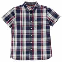 Soulcal Карирана Дамска Риза Short Sleeve Check Shirt Junior Boys Navy/White/Red Детски ризи