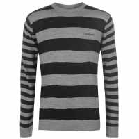 Pierre Cardin Striped Crew Knit Mens Black/Grey Marl Мъжки пуловери и жилетки