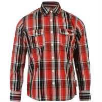 Lee Cooper Карирана Риза Дълъг Ръкав Long Sleeve Check Shirt Junior Boys Red/Black/White Детски ризи