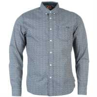 Lee Cooper Long Sleeve All Over Pattern Textile Shirt Boys Blue/White AOP Детски ризи