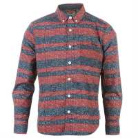 Lee Cooper Long Sleeve All Over Pattern Textile Shirt Boys Red/Blue AOP Детски ризи