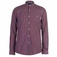 Pierre Cardin Мъжка Риза Дълъг Ръкав Grandad Collar Long Sleeve Shirt Mens Red/Black Мъжки ризи