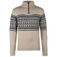 Pierre Cardin Quarter Zip Fair Isle Knit Mens Ecru Мъжки пуловери и жилетки