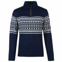 Pierre Cardin Quarter Zip Fair Isle Knit Mens Navy Мъжки пуловери и жилетки