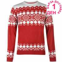 Pierre Cardin Плетен Мъжки Пуловер Crew Neck Fair Isle Knit Jumper Mens Red Коледни пуловери