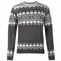Pierre Cardin Crew Neck Fair Isle Knit Mens Charcoal Marl Мъжки пуловери и жилетки