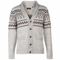 Pierre Cardin Плетена Жилетка Fairisle Cardigan Mens Stone Marl Мъжки пуловери и жилетки