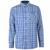 Pierre Cardin Карирана Мъжка Риза Large Check Long Sleeve Shirt Mens Blue/Navy