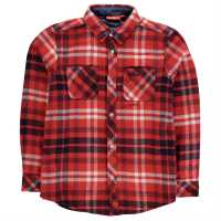 Kickers Фланелена Риза Long Sleeve Flannel Shirt Junior Boys Red Check Детски ризи