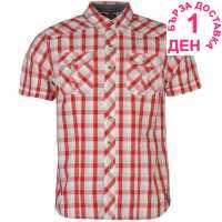 Lee Cooper Карирана Мъжка Риза James Short Sleeve Check Shirt Mens Red Мъжки ризи