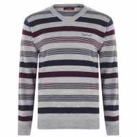 Pierre Cardin Плетен Мъжки Пуловер Mix Stripe Knit Jumper Mens Grey M/Burgundy Мъжки пуловери и жилетки