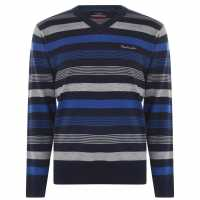 Pierre Cardin Плетен Мъжки Пуловер Mix Stripe Knit Jumper Mens Navy/Cobalt Мъжки пуловери и жилетки