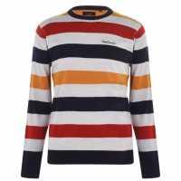 Pierre Cardin Плетен Мъжки Пуловер Stripe Knit Jumper Mens SilverM/Multi Мъжки пуловери и жилетки