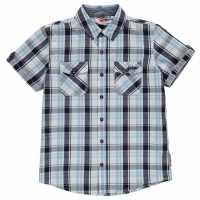 Lee Cooper Short Sleeve Checked Short Junior Boys White/Navy/Blue Детски ризи