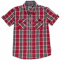 Lee Cooper Short Sleeve Checked Short Junior Boys Red/White/Black Детски ризи