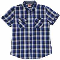 Lee Cooper Short Sleeve Checked Short Junior Boys Royal/Nvy/White Детски ризи