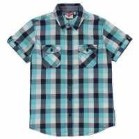 Lee Cooper Short Sleeve Checked Short Junior Boys Turq/Navy/White Детски ризи
