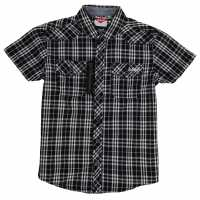Lee Cooper Карирана Дамска Риза Short Sleeved Check Shirt Junior Boys Black/White Детски ризи