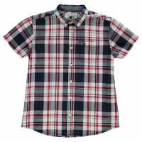 Soulcal Карирана Дамска Риза Short Sleeve Check Shirt Junior Boys Red/White/Navy Детски ризи