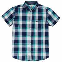 Soulcal Карирана Дамска Риза Short Sleeve Check Shirt Junior Boys Navy/Whte/Green Детски ризи